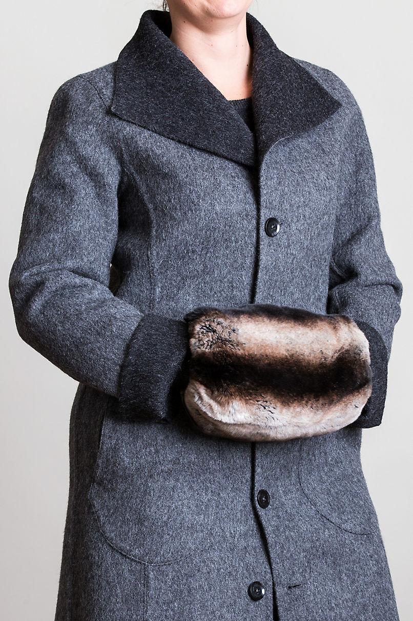 Two-Tone Rex Rabbit Fur Crossbody Muff Clutch