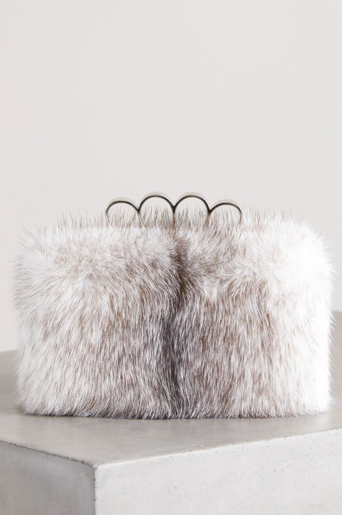 Maren Danish Cross Mink Fur Shoulder Bag Clutch