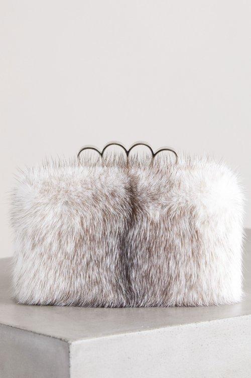Maren Danish Cross Mink Fur Shoulder Bag Clutch