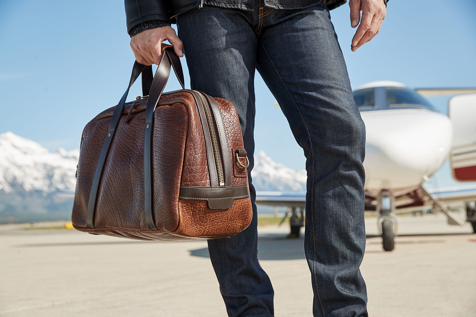 Legacy American Bison Leather Weekender Duffel Bag