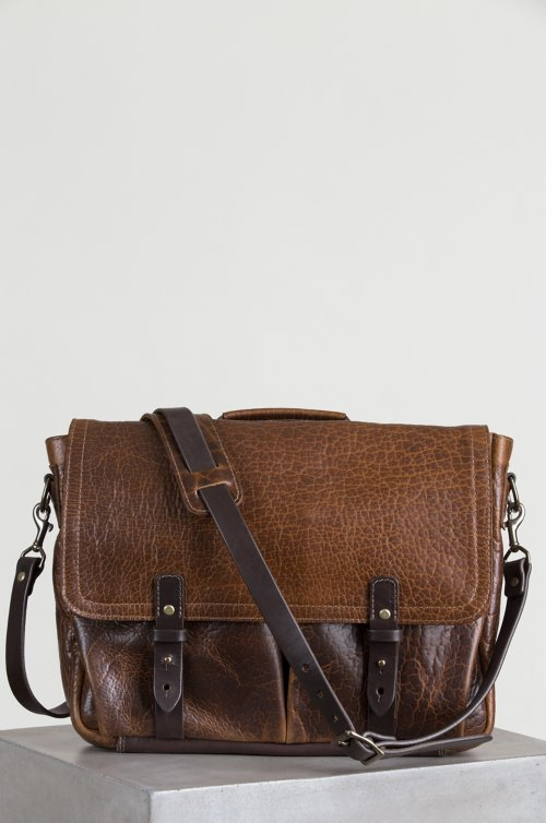 Legacy American Bison Leather Messenger Briefcase with Concealed Carry Pocket