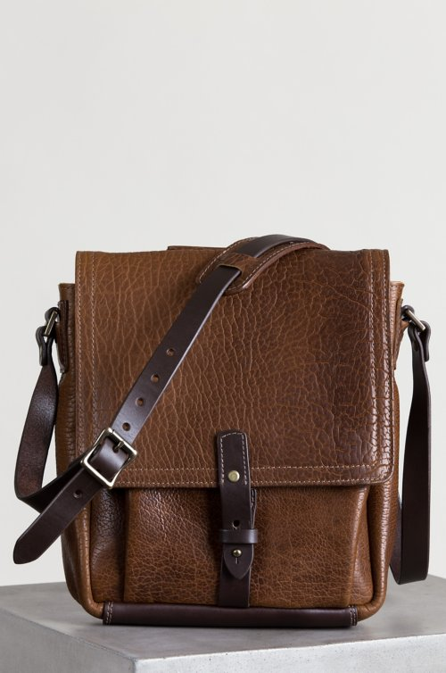 Legacy American Bison Leather Messenger Bag with Concealed Carry Pocket