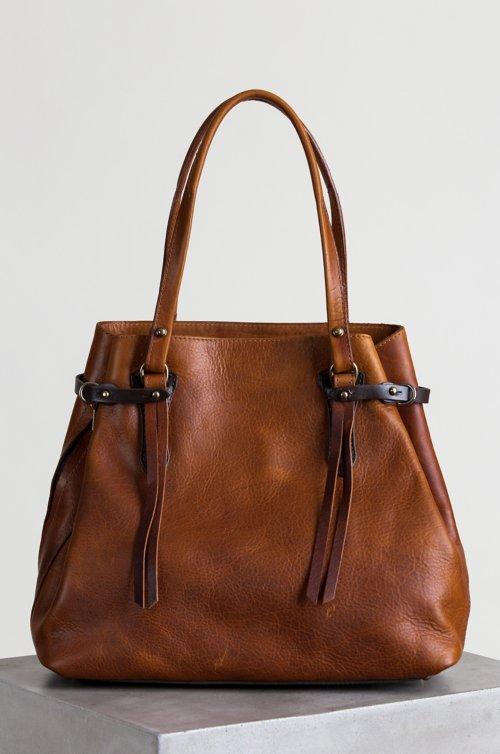 Santa Fe Bison Leather Tote Bag with Concealed Carry Pocket