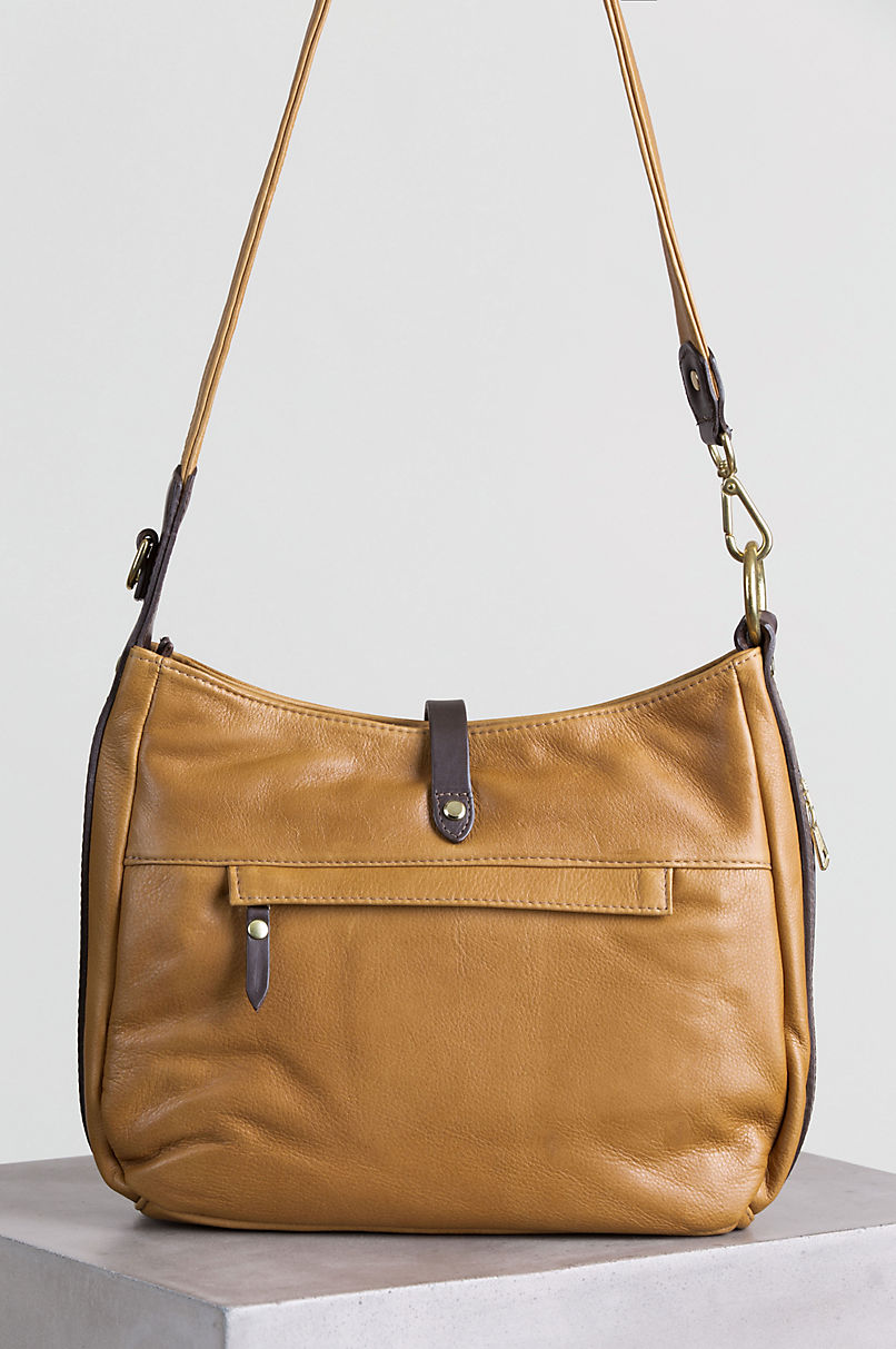 Mesa Two-Tone Leather Shoulder Bag with Concealed Carry Pocket