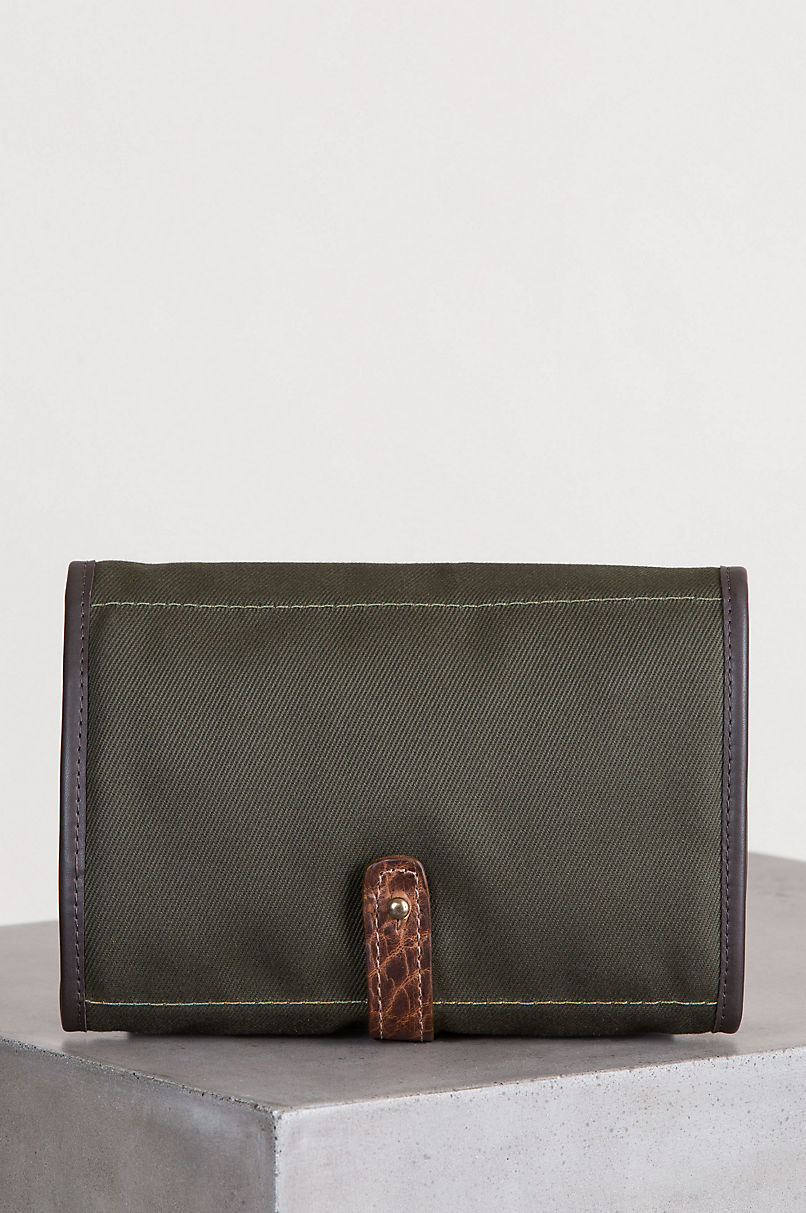 Legacy Canvas and American Bison Leather Roll Travel Kit
