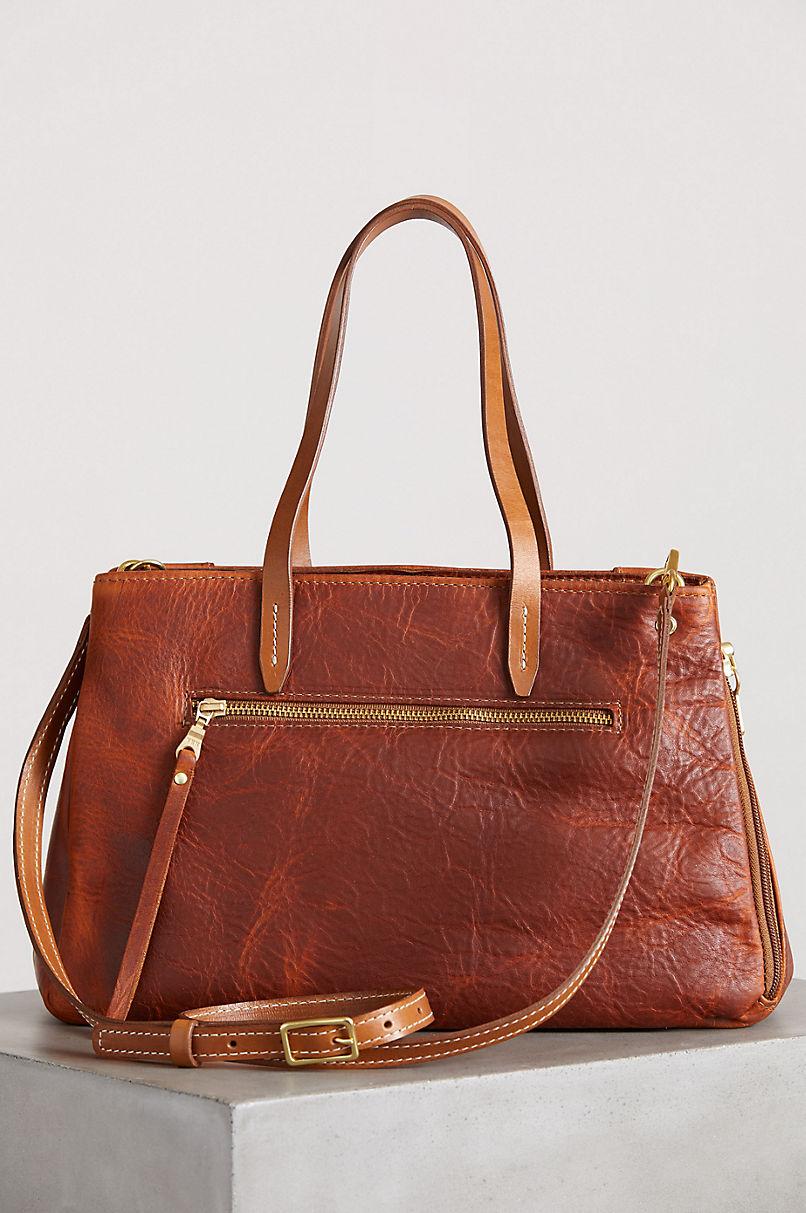 Sedona Vintage Horween Leather Crossbody Shoulder Bag with Concealed Carry Pocket