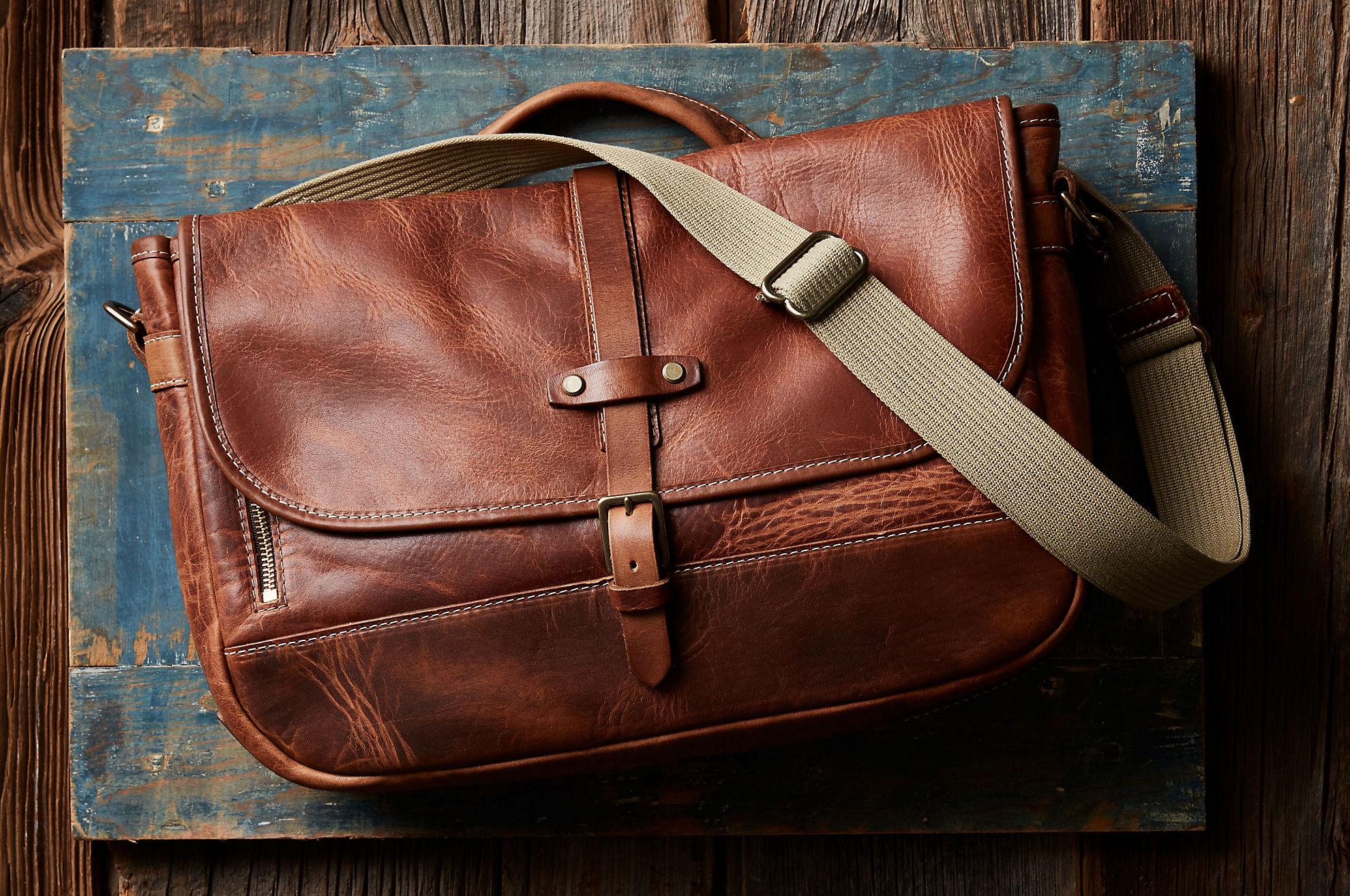 Sedona Vintage Horween Leather Messenger Bag with Concealed Carry Pocket