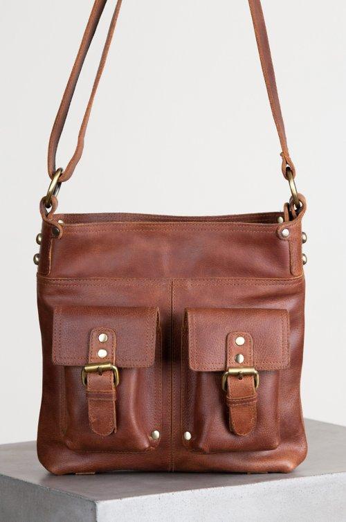 Salem Front Pocket Leather Crossbody Shoulder Bag