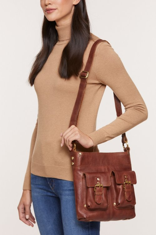Salem Front Pocket Leather Crossbody Shoulder Bag