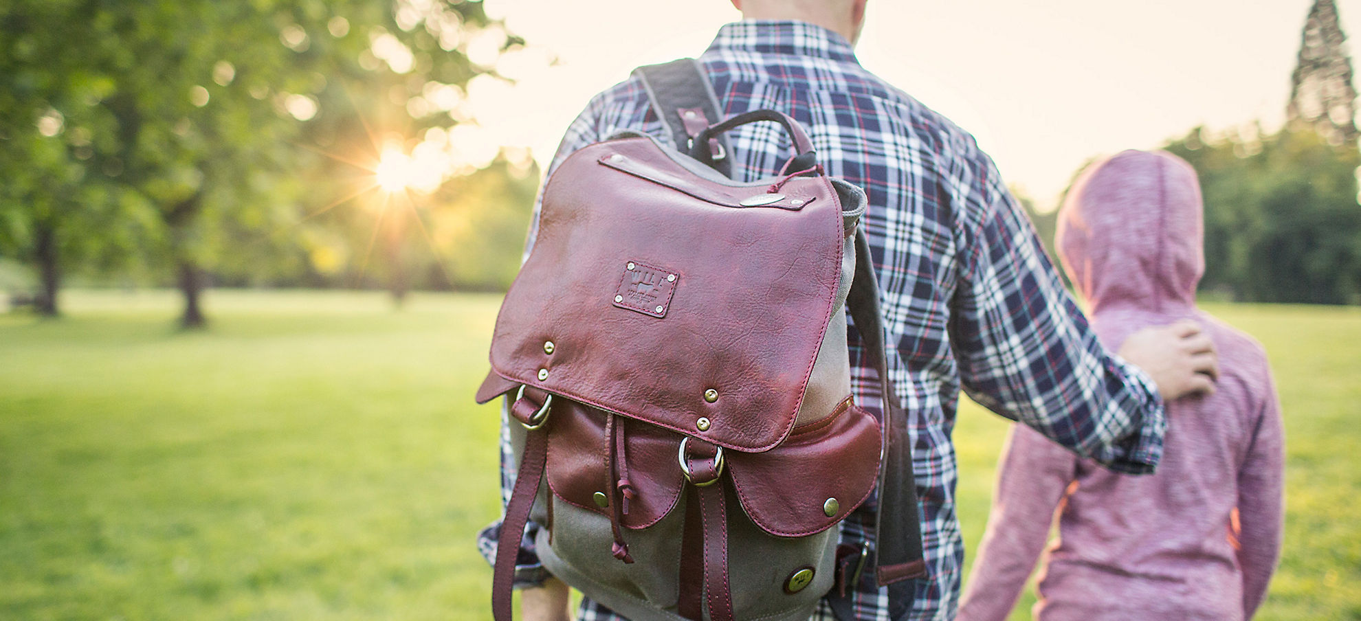 Will Lennon Canvas Backpack with Leather Trim