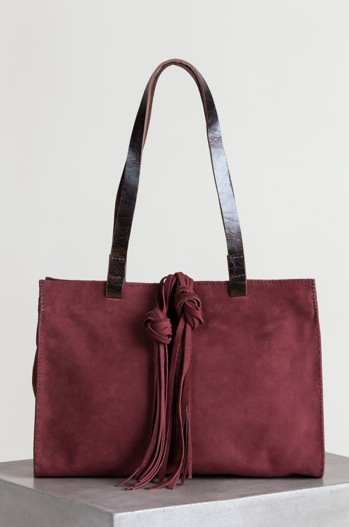 Sonoma Nubuck Leather Tote Shoulder Bag with Leather Tassels