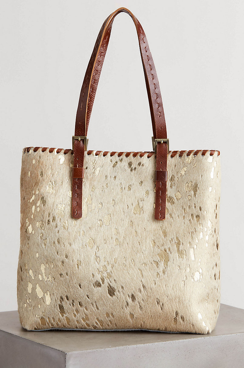 Sonoma Metallic Cowhide Tote Bag