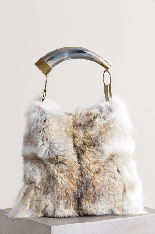 Austin Coyote Fur Shoulder Bag with Argentine Cow Horn Handle