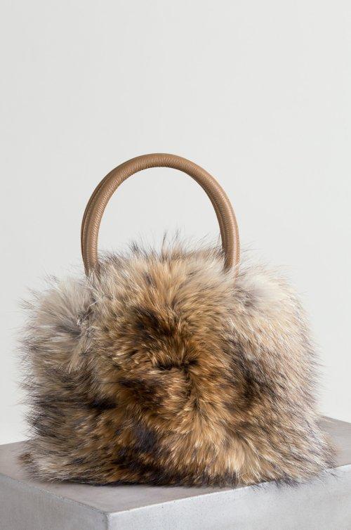 Bellevue Raccoon Fur and Leather Top Handle Shoulder Handbag