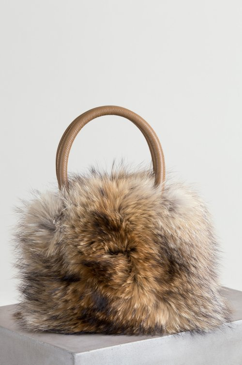 Bellevue Raccoon Fur and Leather Top Handle Shoulder Handbag