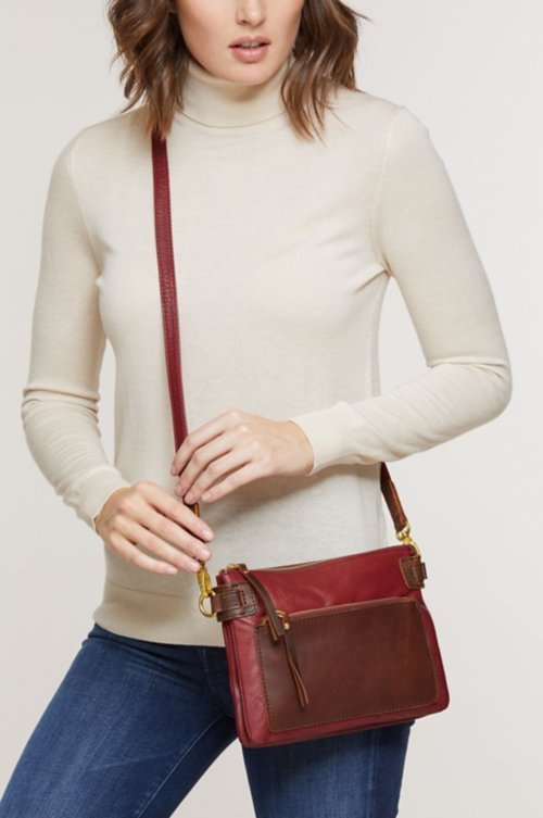 Roma Two-Tone Leather Crossbody Clutch