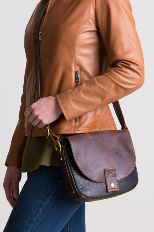 Roma Two-Tone Leather Convertible Crossbody Shoulder Bag