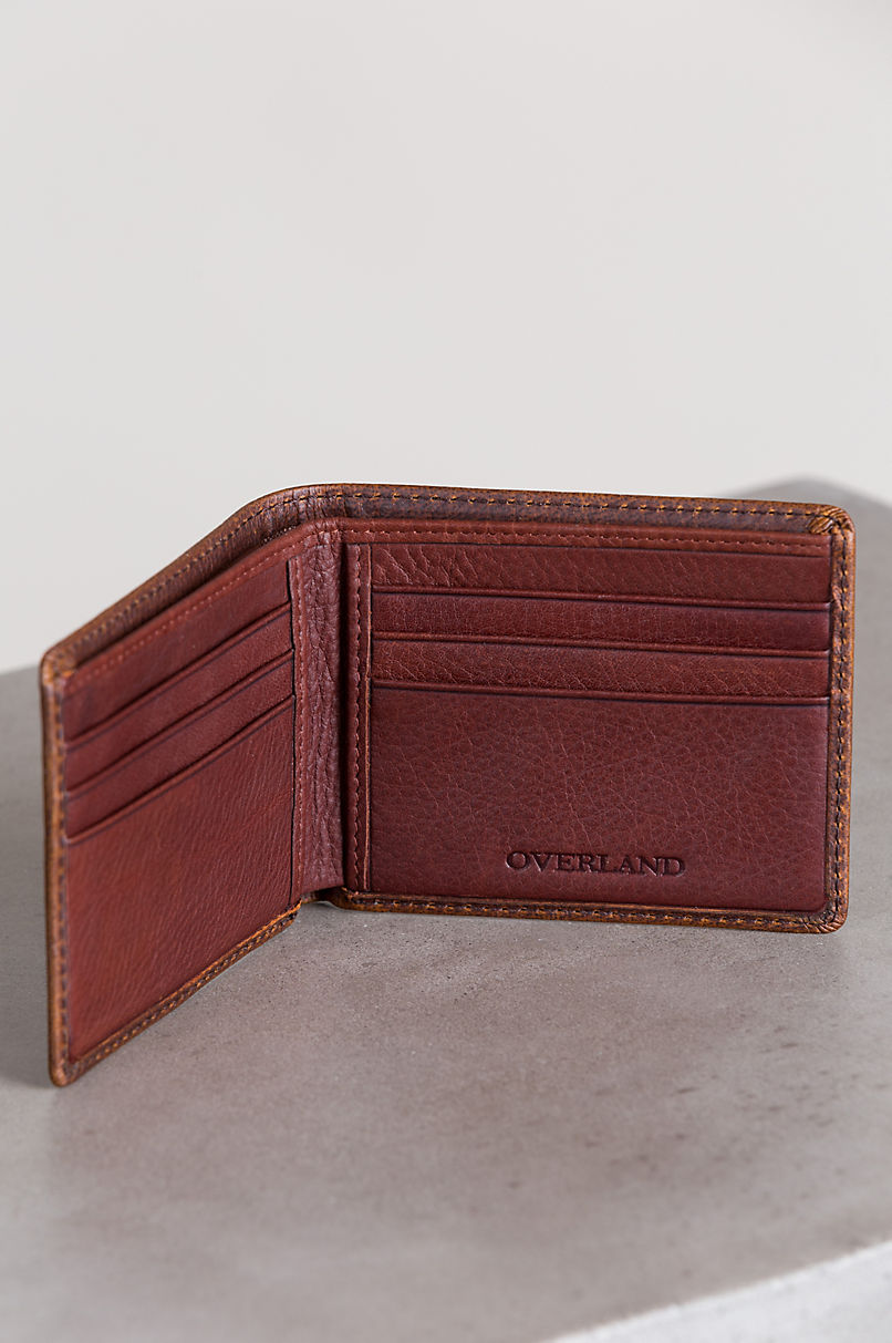 Mini Thinfold Distressed Leather Billfold Wallet