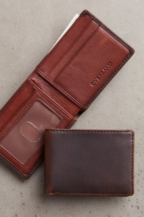 Ultra-Mini Thinfold Distressed Leather Billfold Wallet