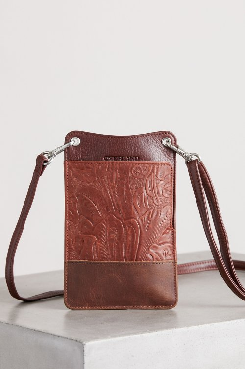 Roma Floral Embossed Crossbody Phone Case Wallet
