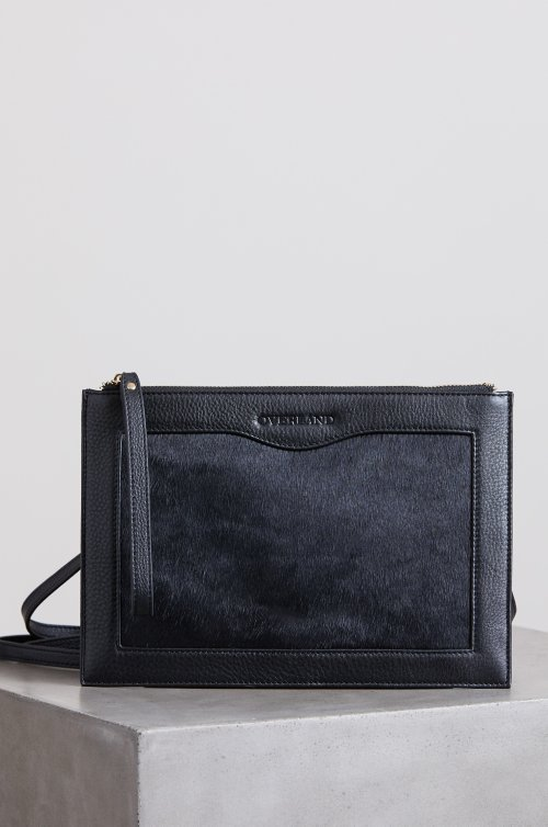 Belleville Calfskin and Leather Crossbody Wristlet Clutch