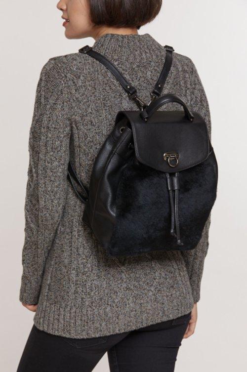 Kodiak Rex Rabbit Fur and Leather Backpack Purse