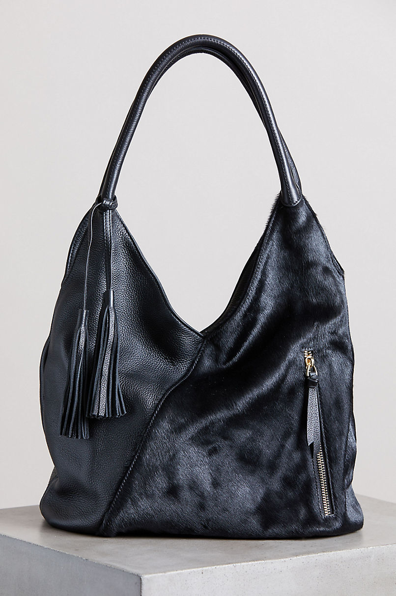 Belleville Calfskin and Cowhide Leather Tote Bag