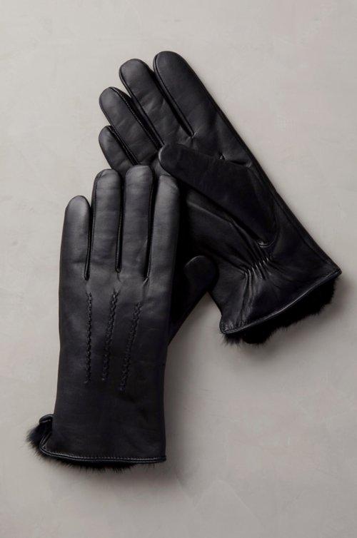 Men's Willow Rabbit Fur-Lined Lambskin Leather Gloves