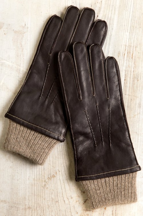 Men's Sycamore Cashmere-Lined Lambskin Leather Driving Gloves