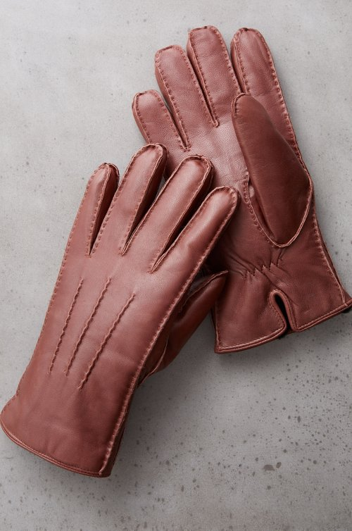 Men's Douglas Shearling-Lined Lambskin Leather Gloves