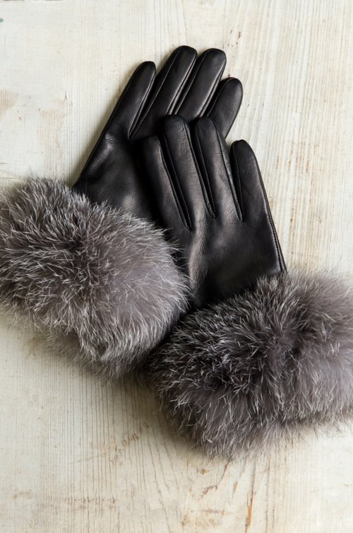 Women's Bellis Cashmere-Lined Lambskin Leather Gloves with Fox Fur Trim