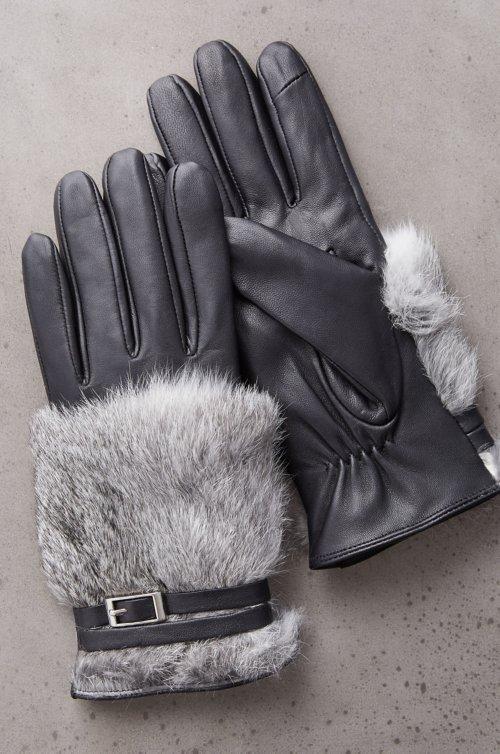 Women's Magnolia Lambskin Leather Gloves with Rabbit Fur Trim