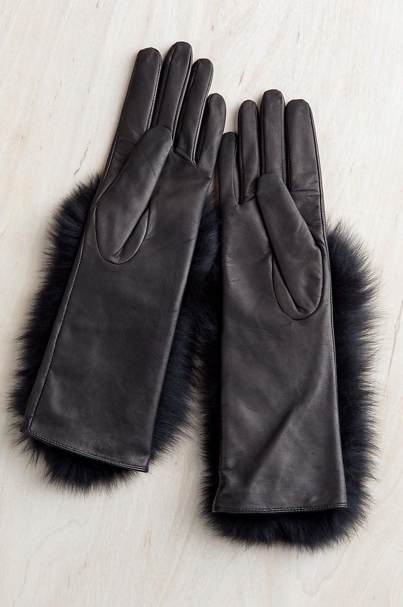 Women's Hazel Lambskin Leather Gloves with Fox Fur Trim