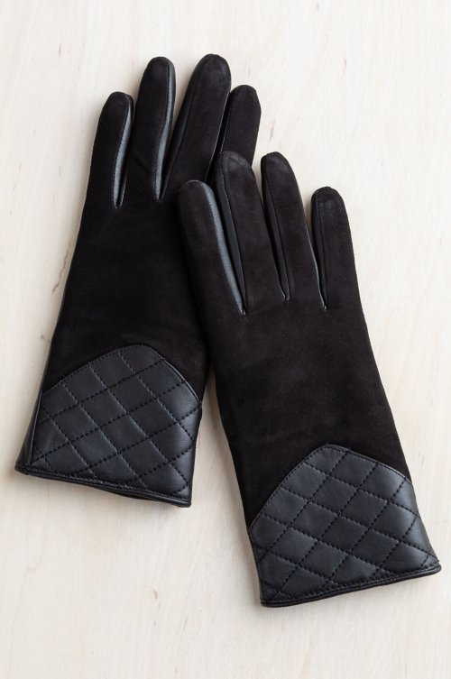 Women's Bay Suede Gloves with Shearling Lining and Quilted Leather Trim
