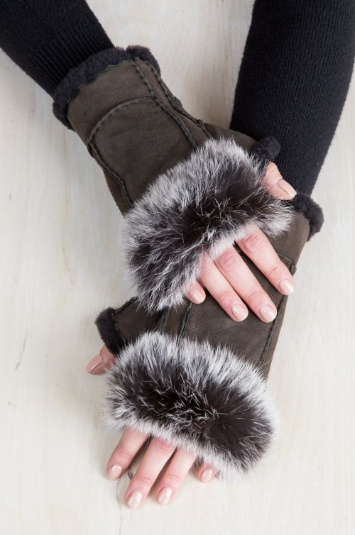 Women's Teak Sheepskin Fingerless Gloves