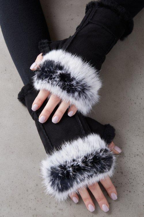 Women's Teak Sheepskin Fingerless Gloves