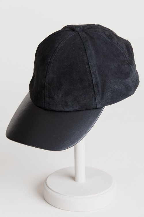 Suede and Lambskin Leather Baseball Cap