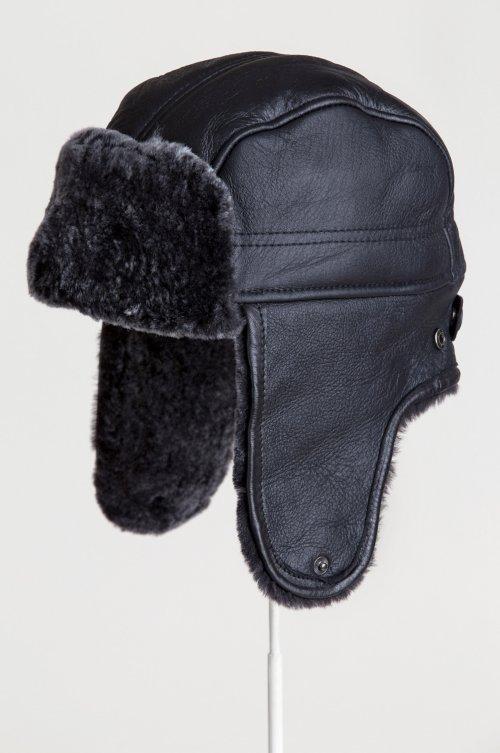 Spanish Shearling Sheepskin Convertible Trapper Hat