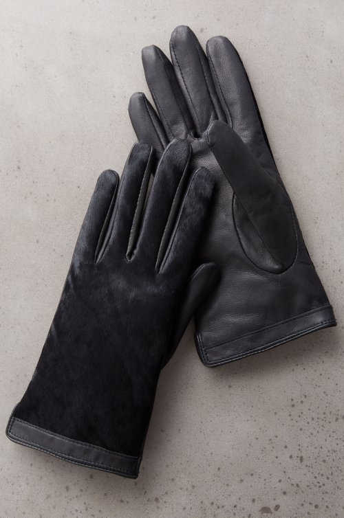 Women's Nandina Silk-Lined Pony Hair and Leather Gloves