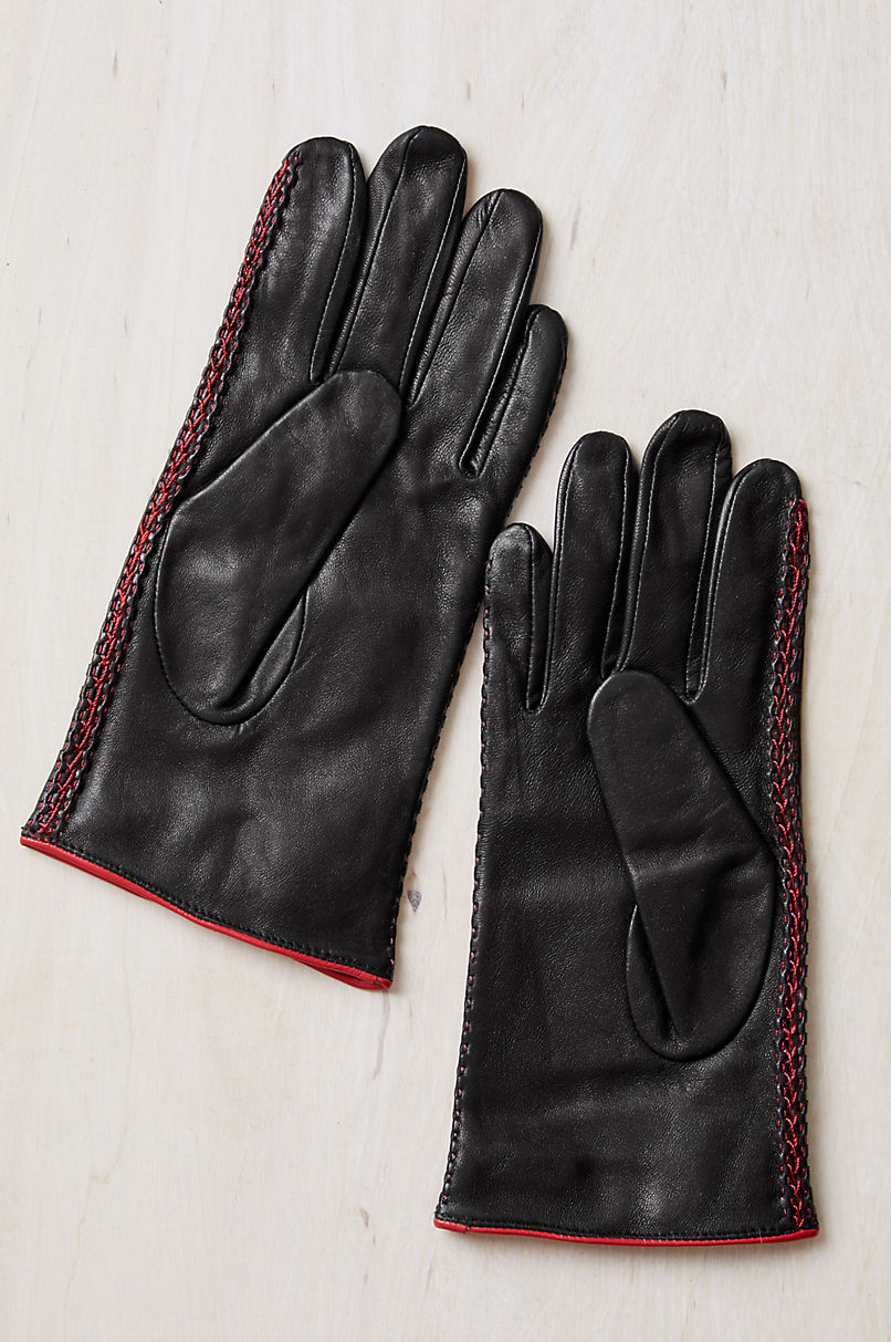 Women's Mahonia Silk-Lined Lambskin Leather Gloves