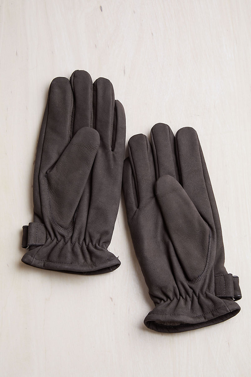 Men's Larch Cashmere-Lined Nubuck Leather Gloves