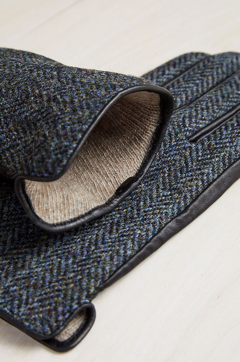 Men's Ash Cashmere-Lined Wool and Lambskin Leather Gloves