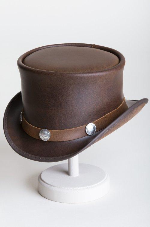Steampunk El Dorado Leather Top Hat with Buffalo Nickels