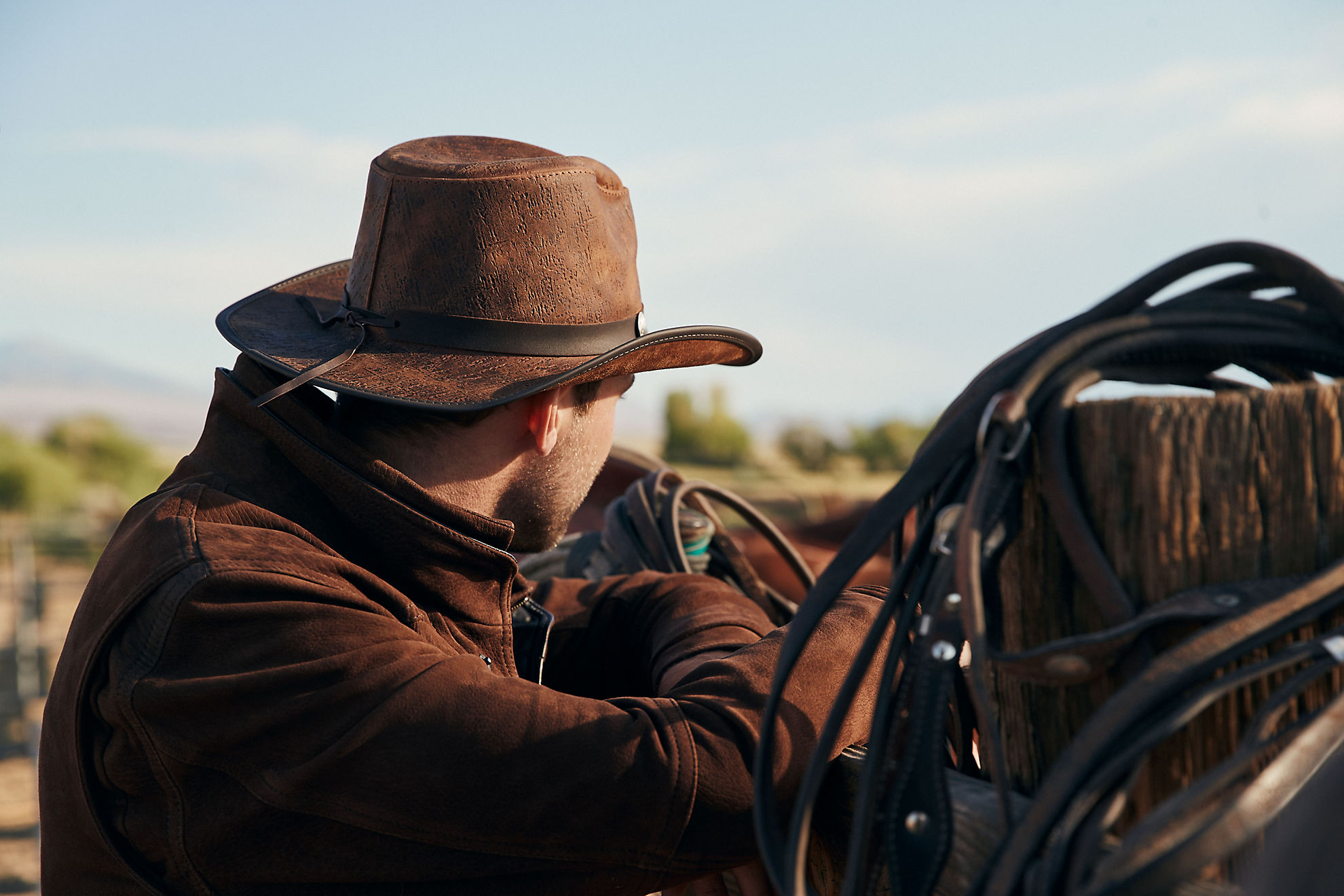 Renegade Leather Cowboy Hat with Buffalo Nickels