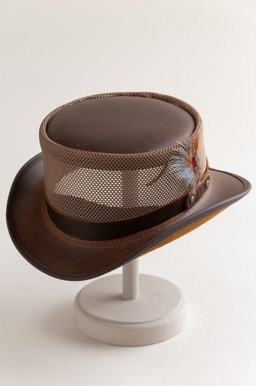 Steampunk Diesel Leather Breezer Top Hat
