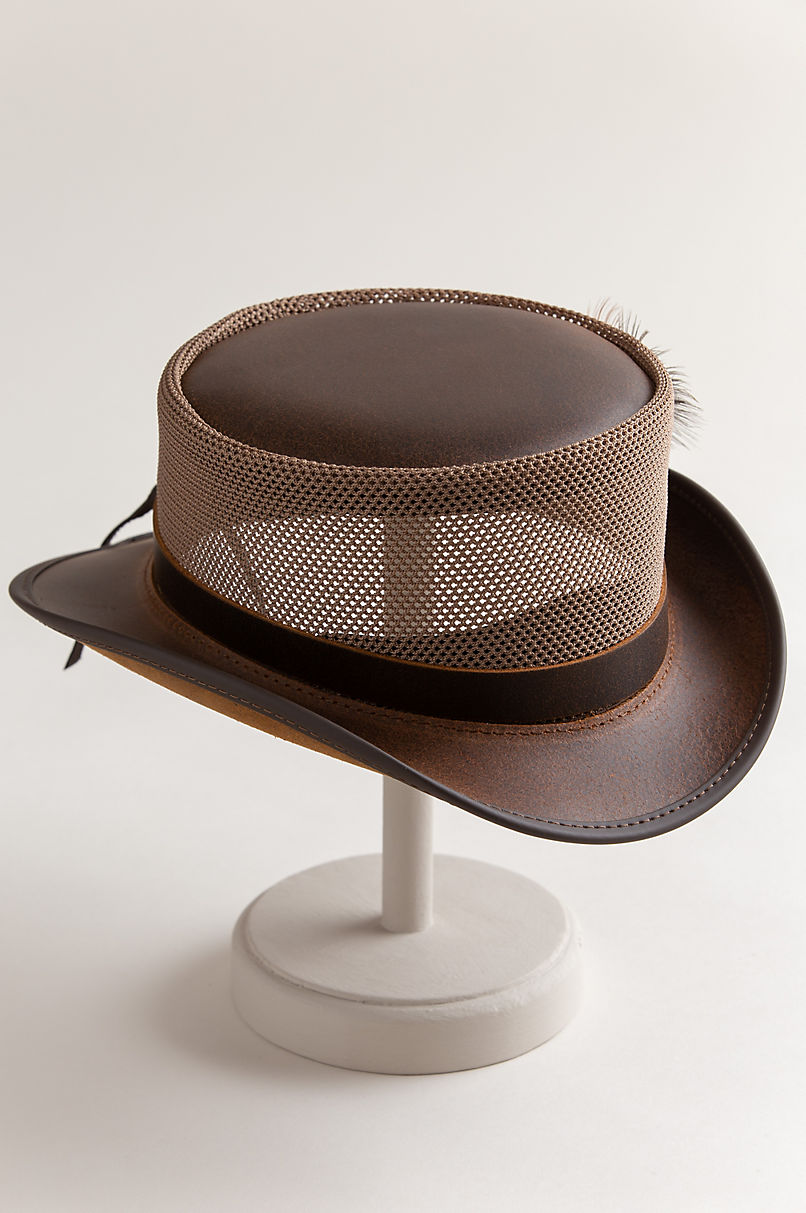 Steampunk Diesel Leather Breezer Top Hat