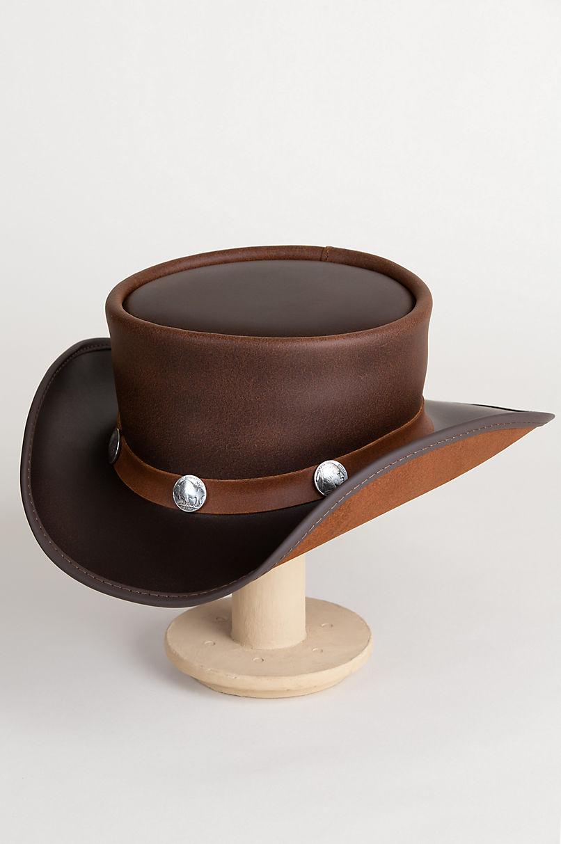 fc8f3ccbdf0 Steampunk El Dorado Leather Top Hat with Buffalo Nickels   Overland