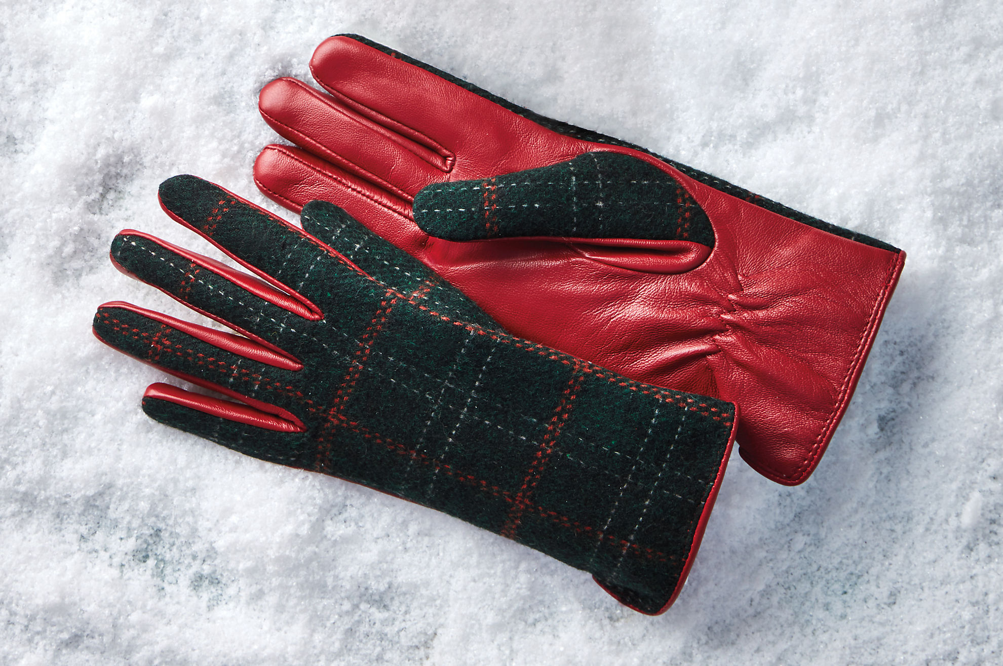 Women's Zinnia Wool-Lined Lambskin Leather and Wool Gloves
