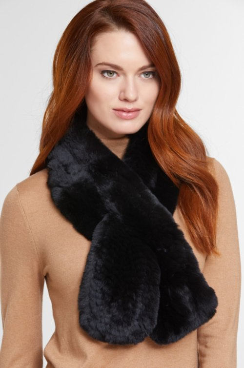 Diane Knitted Rex Rabbit Fur Scarf