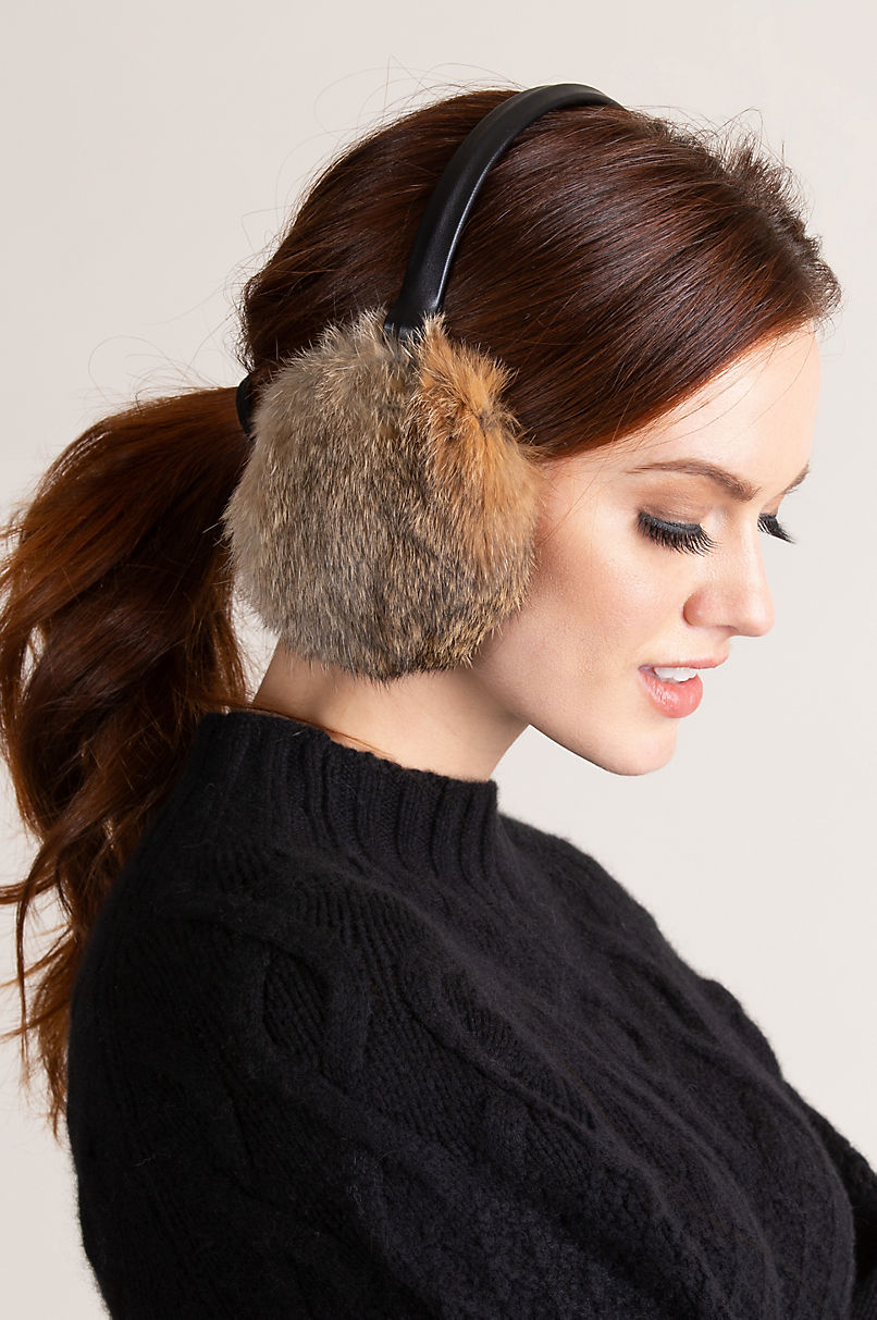 Rabbit Fur and Lambskin Leather Earmuffs